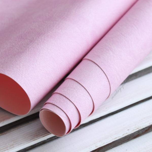 """Переплетный кожзам, матовый с тиснением """"мятая кожа"""", цвет: Лилово-розовый"""
