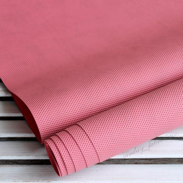 Переплетный кожзам, матовый с тиснением РОГОЖКА, цвет: Розовый