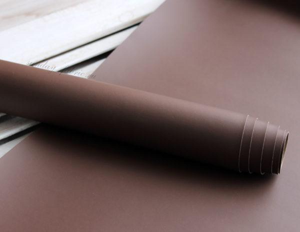 Переплетный кожзам, матовый без текстуры, цвет: Коричневый (Италия)