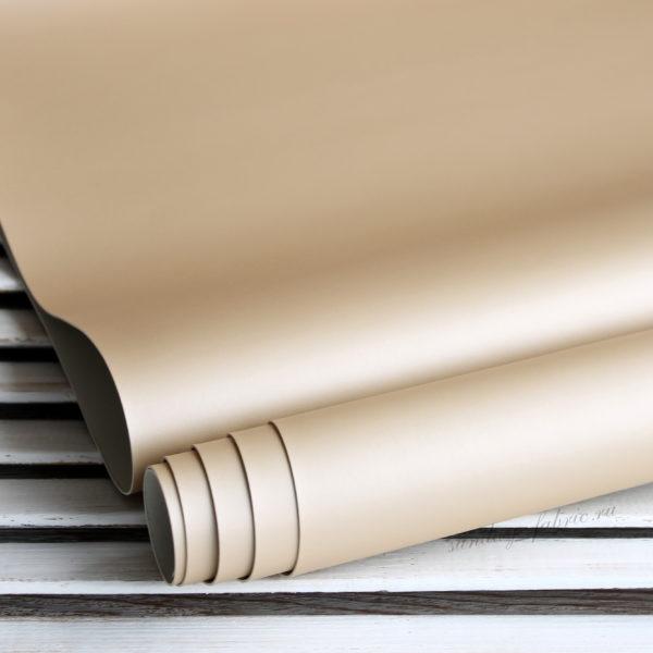 Переплетный кожзам, матовый без текстуры с перламутровым отливом, цвет: Светло-бежевый (Италия)