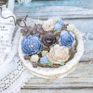 """Набор тканевых цветов """"Пионы и розы"""", 17 шт., цвет Бежево-голубой (Pastel Flowers)"""