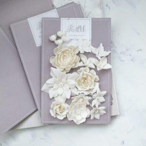 """Набор тканевых цветов """"Базовый микс"""", 16 шт., цвет Молочный (Pastel Flowers)"""