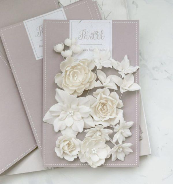 "Набор тканевых цветов ""Базовый микс"", 16 шт., цвет Бежевый (Pastel Flowers)"