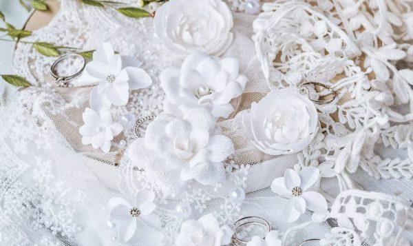 """Набор тканевых цветов """"DIAMOND"""", 10 шт., цвет Белый (Pastel Flowers)"""