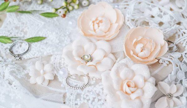 "Набор тканевых цветов ""DIAMOND"", 10 шт., цвет Персиковый (Pastel Flowers)"
