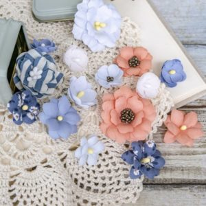 "Набор тканевых цветов ""Морской"", 16 шт., (Pastel Flowers)"