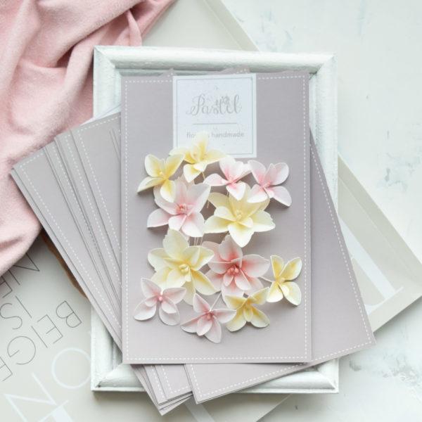 """Набор тканевых цветов """"Гортензии дуболистные"""", 12 шт., цвет Желто-розовый (Pastel Flowers)"""