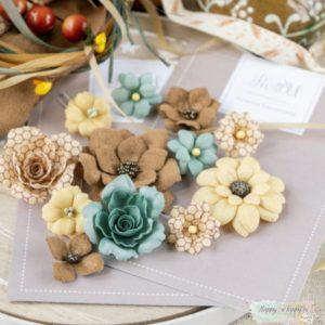"""Набор тканевых цветов """"Бархатная осень"""" бирюзовый, 12 шт., (Pastel Flowers)"""