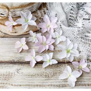 """Набор тканевых цветов """"Гортензии дуболистные"""", 12 шт., цвет Бело-розовый (Pastel Flowers)"""