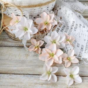 """Набор тканевых цветов """"Гортензии дуболистные"""", 12 шт., цвет Бело-персиковые (Pastel Flowers)"""