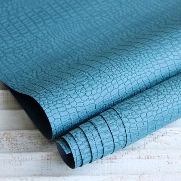 Переплетный кожзам, матовый с тиснением КРОКОДИЛ, цвет: Серо-синий