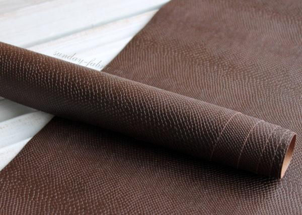 Переплетный кожзам, матовый с тиснением ПИТОН, цвет: Шоколадный